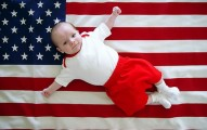 Baby & American flag July baby names