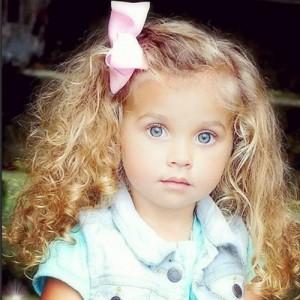 Baby girl sweet blonde pink ribbon