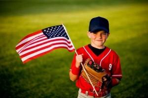 Boy American flag patriotic